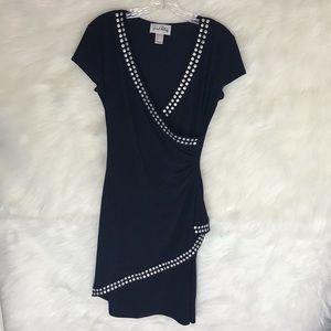 Joseph Ribkoff Navy W/Silver Detail Stud Dress sz8